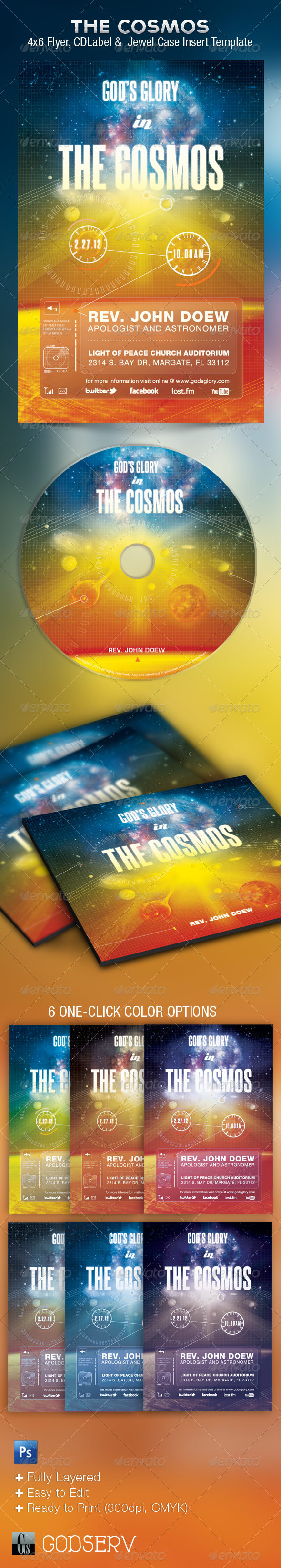 GraphicRiver God's Glory In The Cosmos Church Flyer and CD 1590486