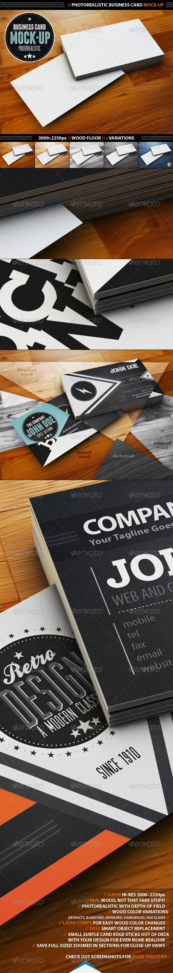 GraphicRiver Photorealistic Business Card Mock-Up 1593084