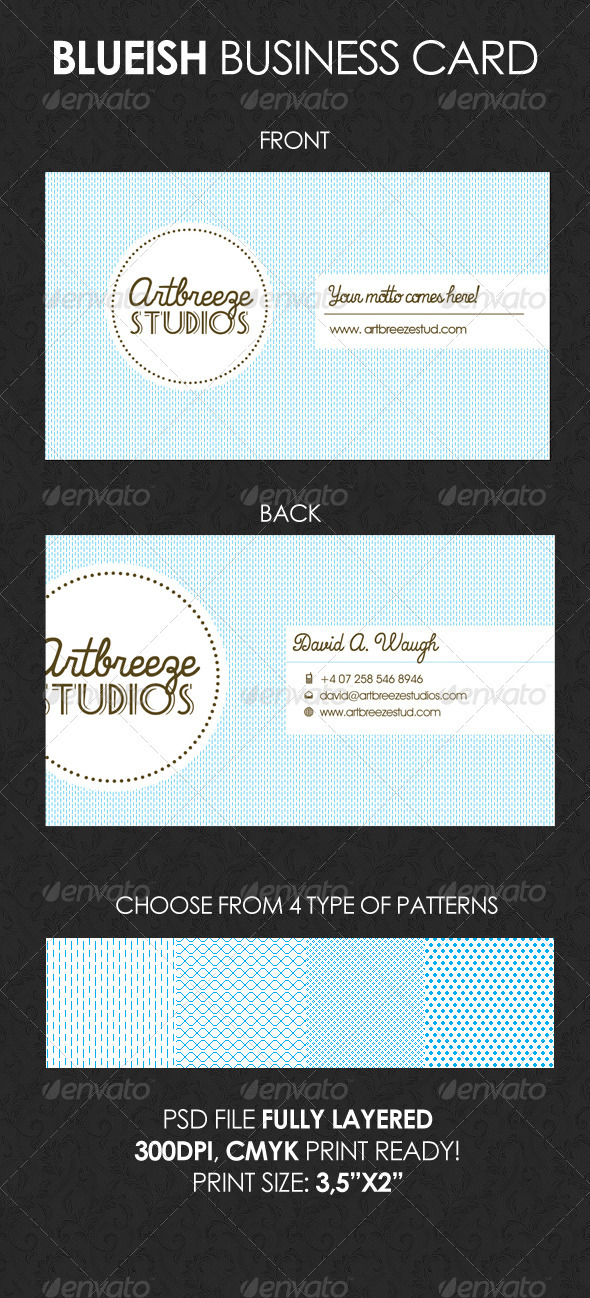 GraphicRiver Blueish Business Card 1593712