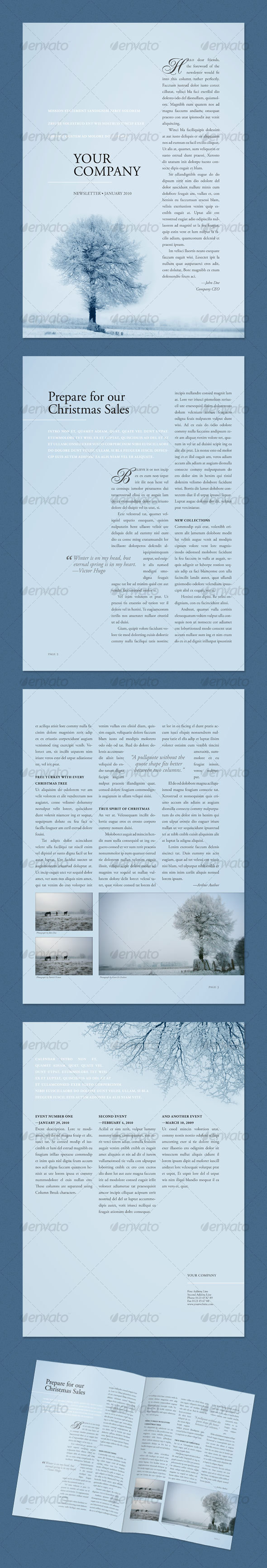 GraphicRiver Newsletter Winter Tree 4 pages 62521