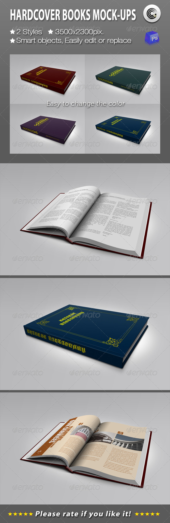 GraphicRiver Hardcover Books Mock-ups 1512944