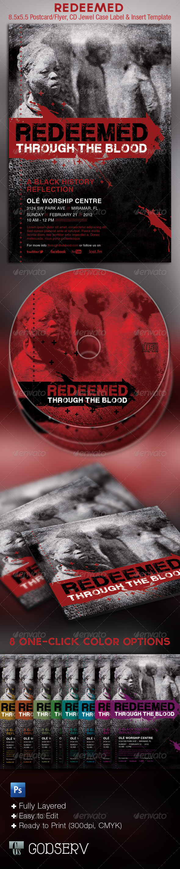 GraphicRiver Redeemed Black History Flyer and CD Template 1596518