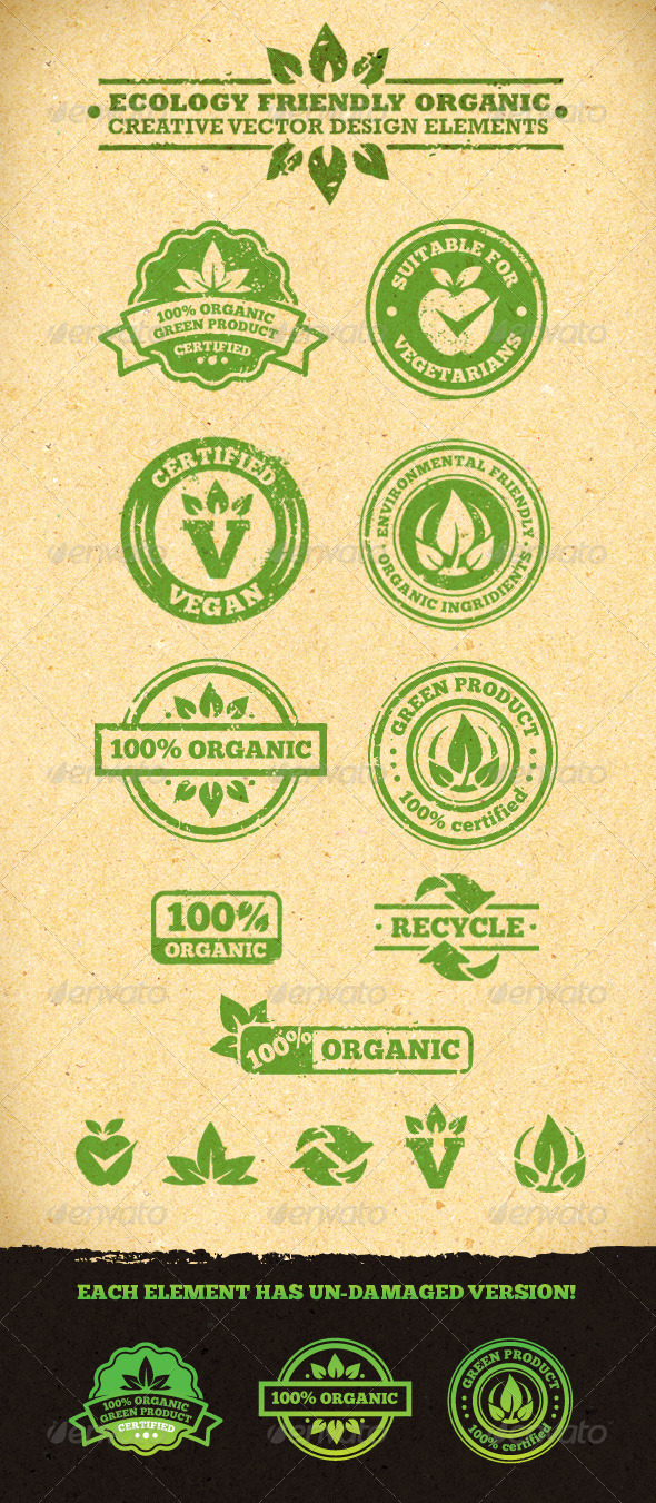 GraphicRiver Ecology Friendly Organic Vector Design Elements 1597281