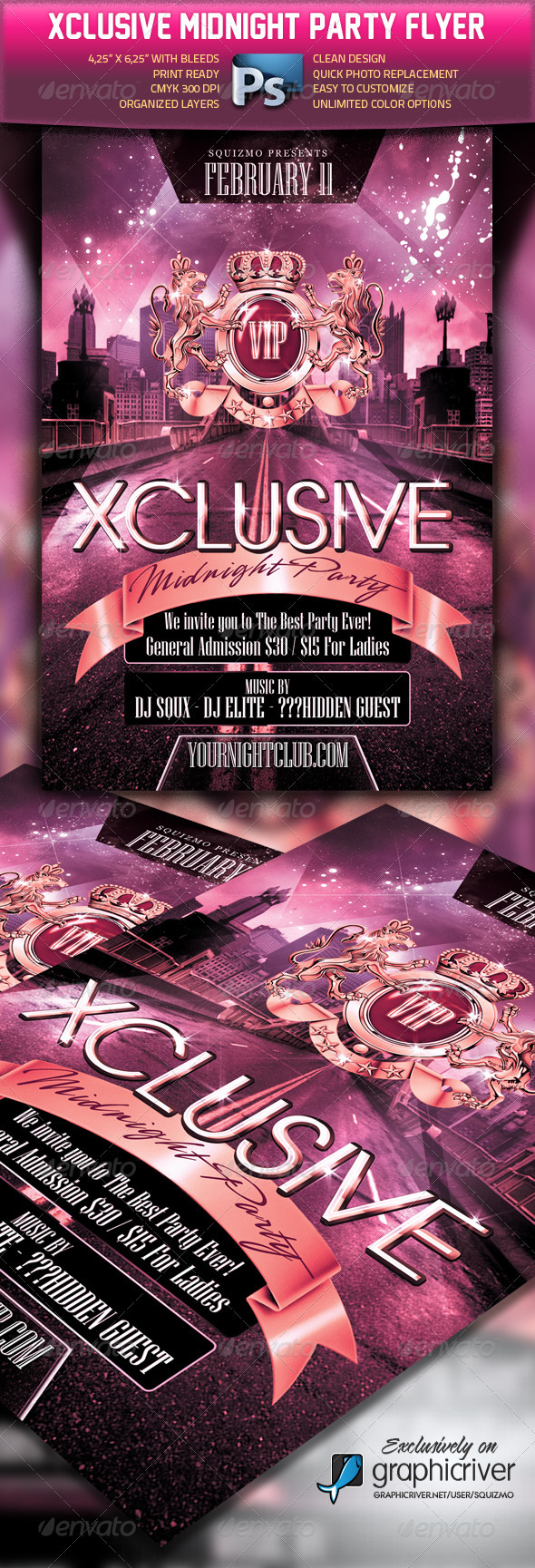 Graphic River Xclusive Midnight Party Flyer Print Templates -  Flyers  Events  Clubs & Parties 1047841