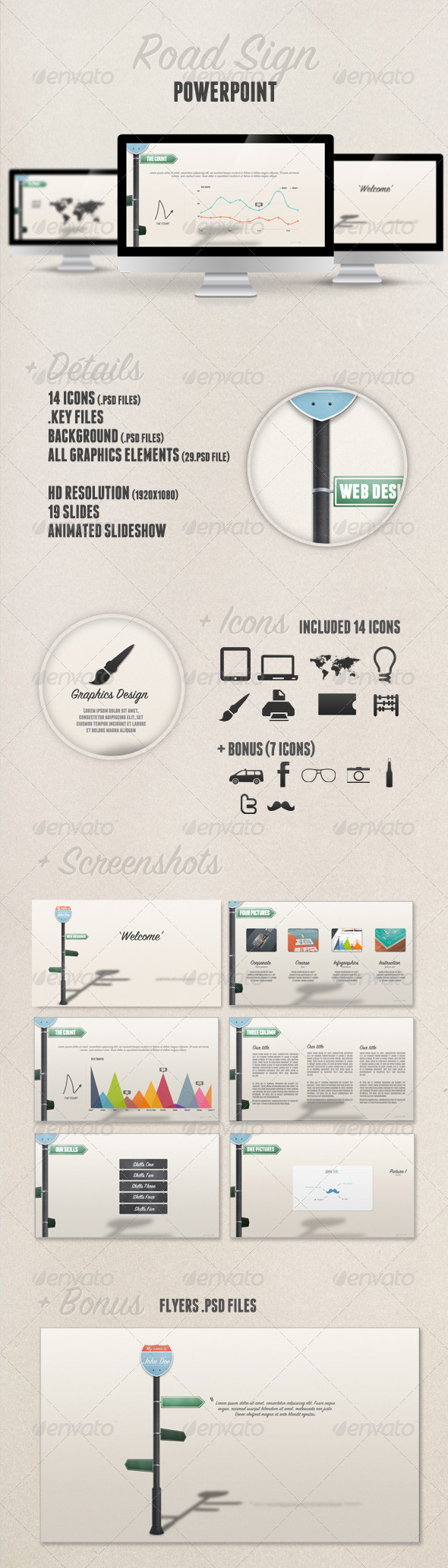 GraphicRiver Road Sign Powerpoint Presentation 1600855