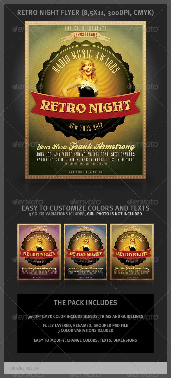 GraphicRiver Retro Night Flyer 1590638
