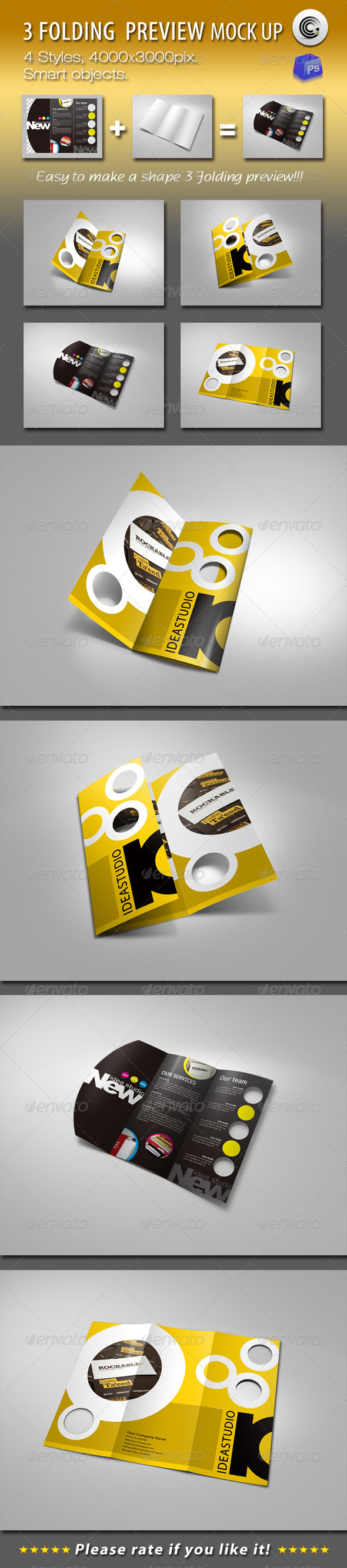 Graphic River Shape 3 Folding Preview Mock-ups Graphics -  Product Mock-Ups  Print 760083