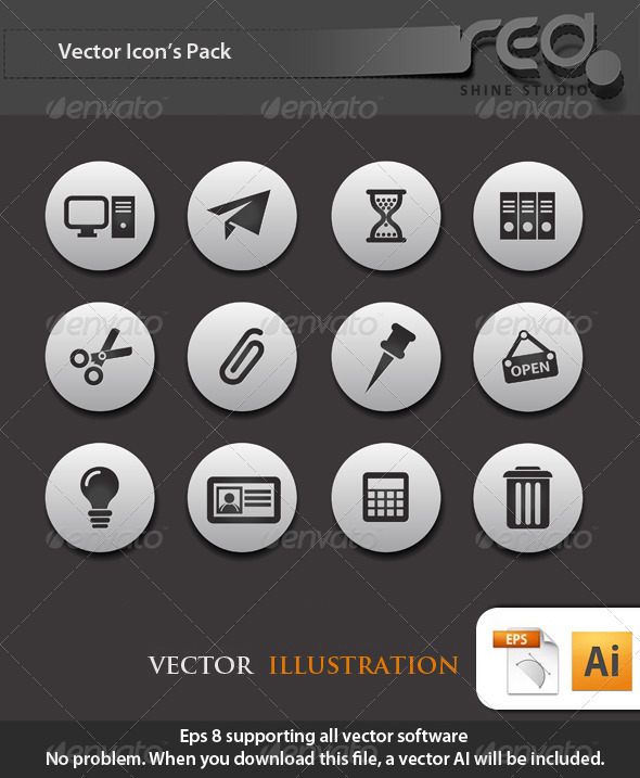 GraphicRiver Office End Business Icons Vector Pack 1603802