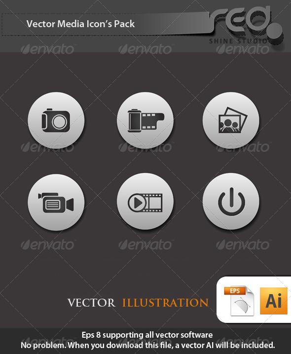 GraphicRiver Media Icon Vector Pack 1604558