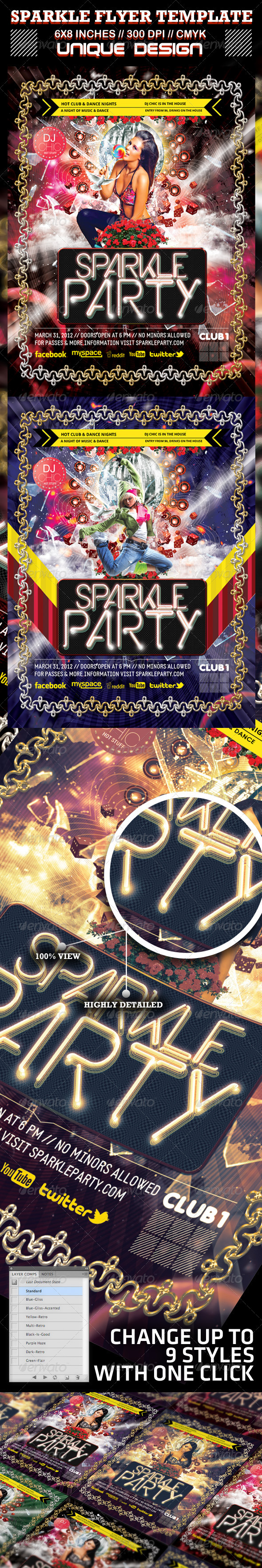 GraphicRiver Sparkle Party and Club Flyer Template 1591468