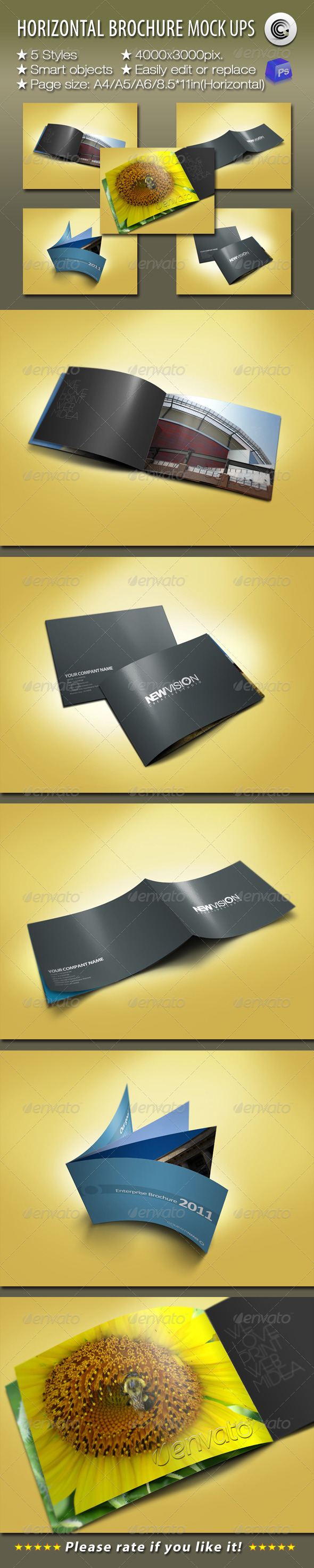 Graphic River Horizontal Brochures Preview Mock-ups Graphics -  Product Mock-Ups  Print 758337