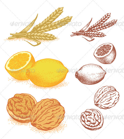 GraphicRiver Grain Lemons Walnuts 1606484