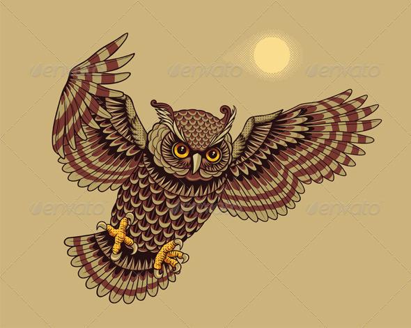 GraphicRiver Flying Owl Bird 1554082