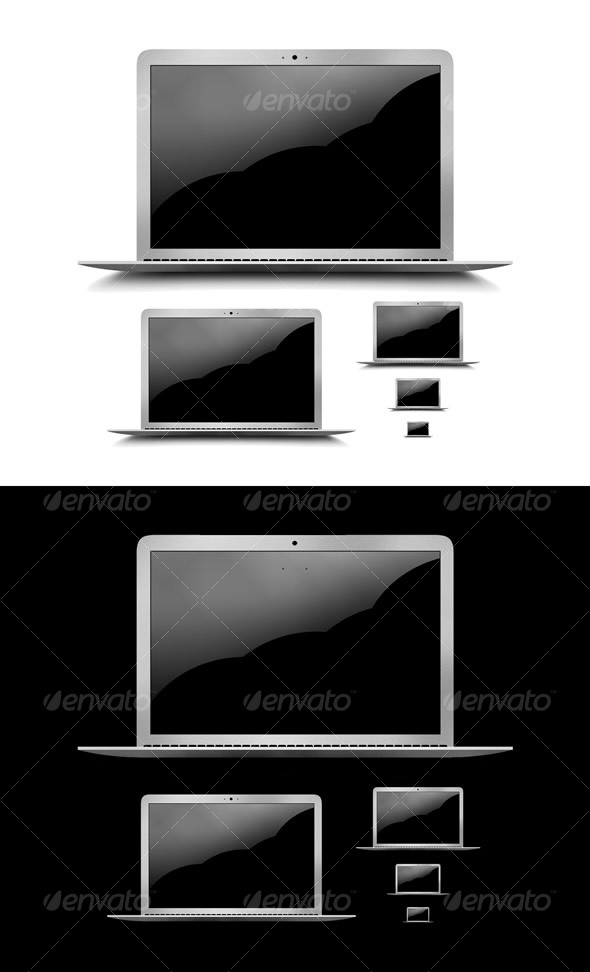 Graphic River Layered PSD & PNG High Res Laptop Graphic & Icons Icons -  Technology 63105