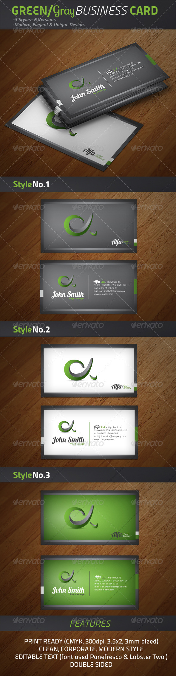 GraphicRiver Alfa Green Grey #2 cards 1612951