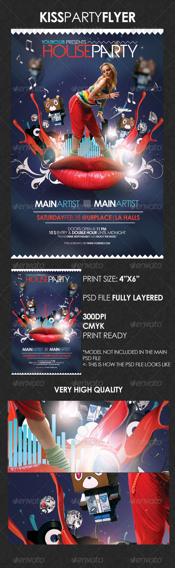 GraphicRiver Kiss Houseparty Flyer 1613993