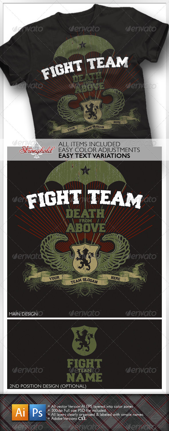 GraphicRiver Vintage Military Paratrooper Fight T-Shirt 1614040