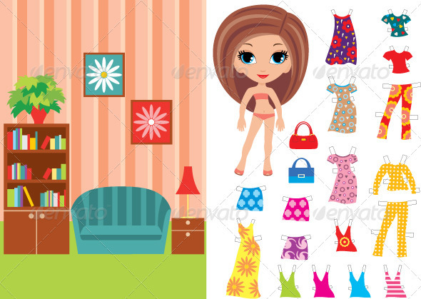GraphicRiver Paper doll with a set of clothes and a room 1615233