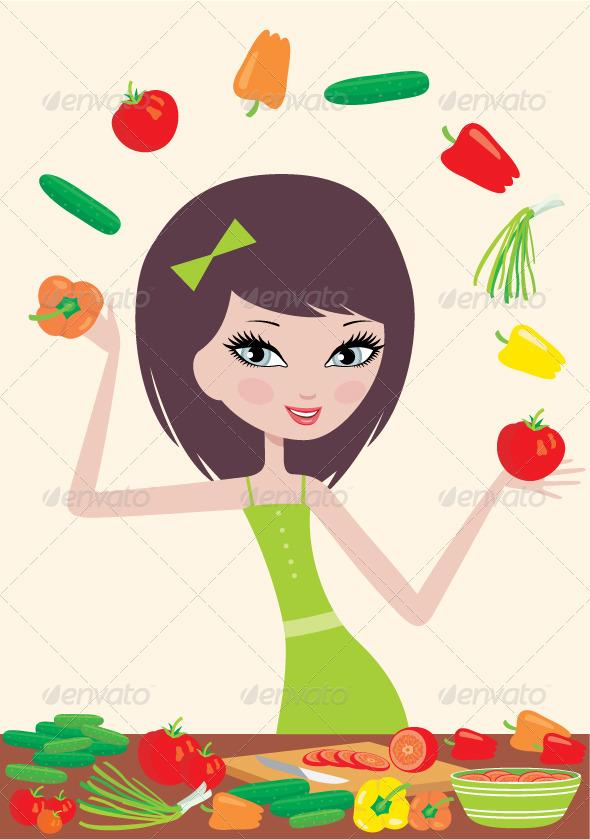 GraphicRiver Pretty girl prepares salad 1615303