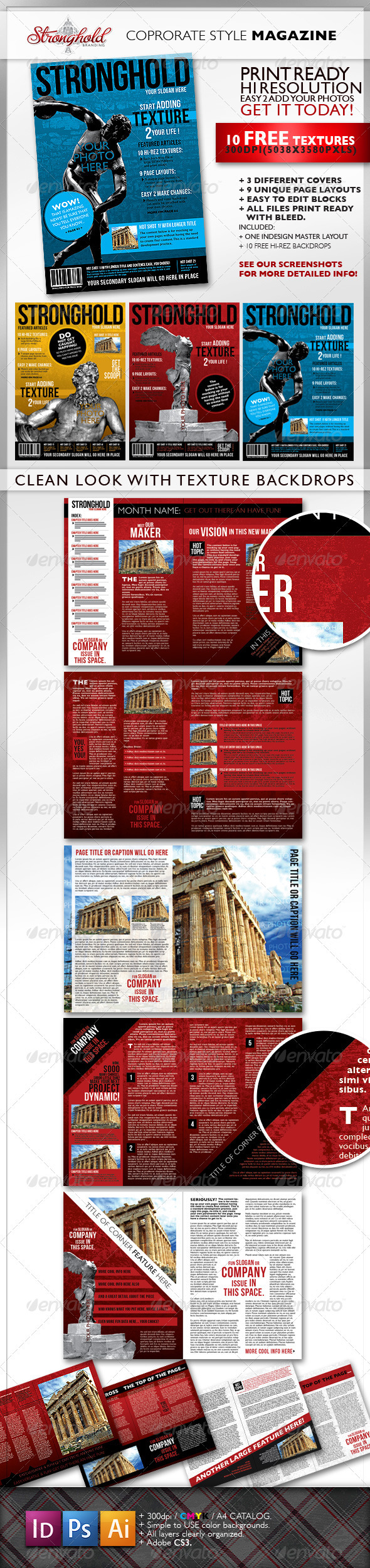 GraphicRiver Textured Corporate Magazine Template 1616360