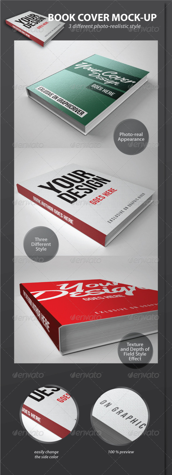 Graphic River Book Cover Mock-Up Pack Graphics -  Product Mock-Ups  Print 1035455