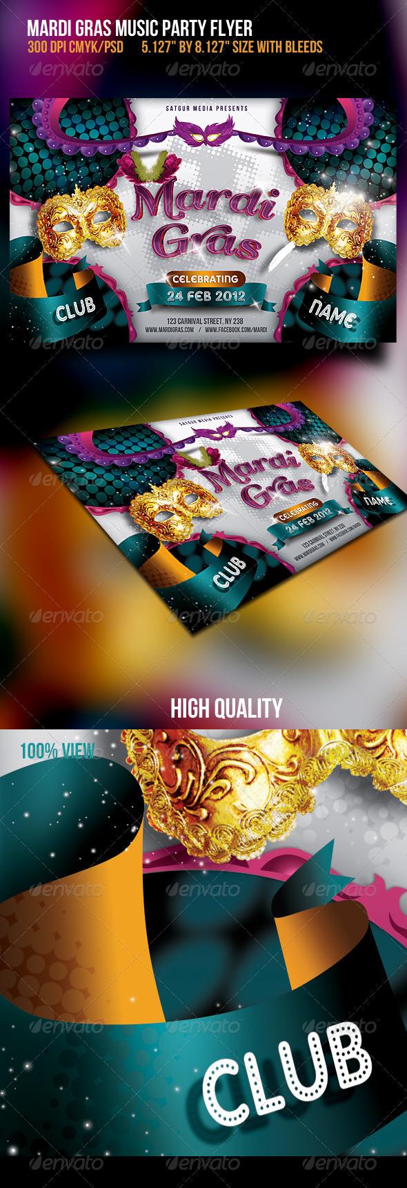 GraphicRiver Mardia Gras Party Flyer 1617724