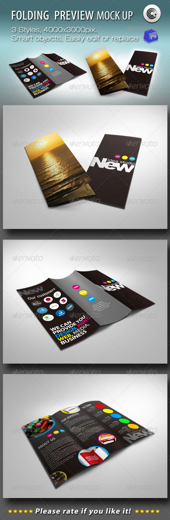 GraphicRiver Folding Booklet Preview Mock-ups 695764