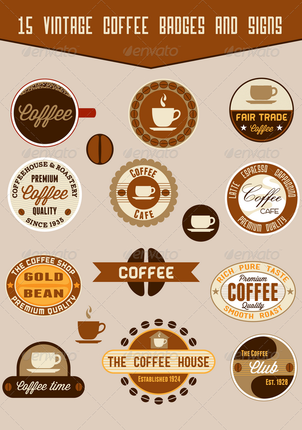 GraphicRiver 15 coffee badges and signs 1623518