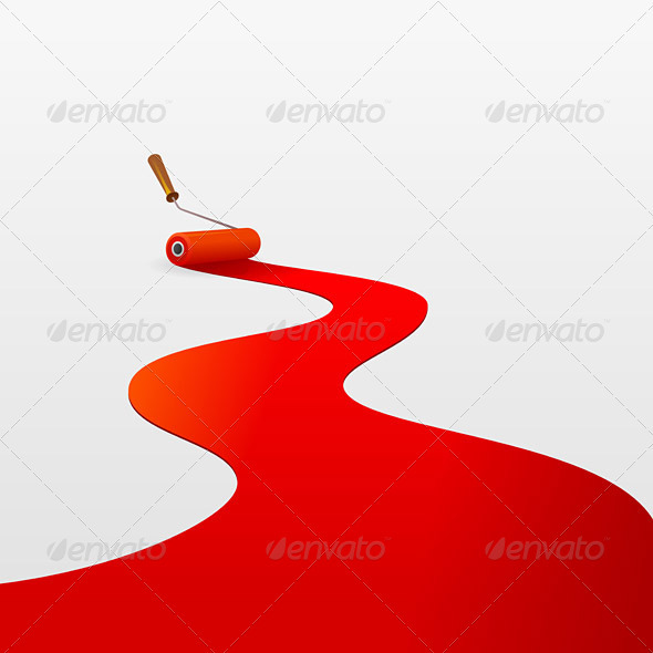 GraphicRiver Red Paint and Roller 1627192