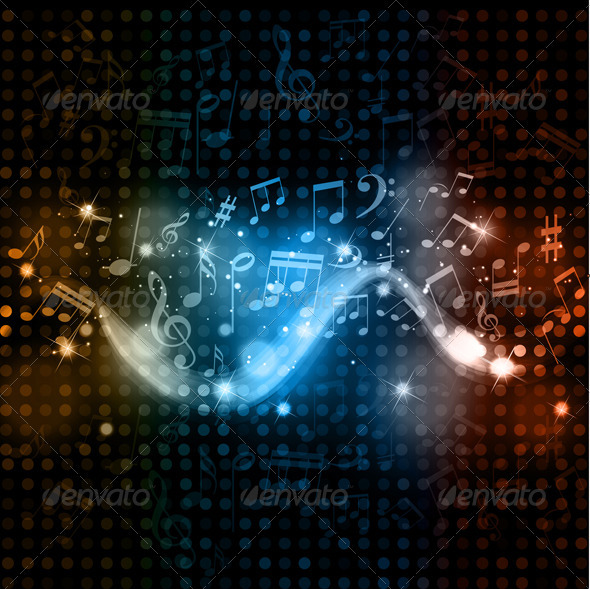 GraphicRiver Abstract Music Notes Background 1627235