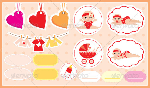 GraphicRiver Scrapbook elements with children's accessories 1627935