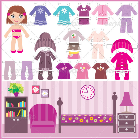 GraphicRiver Paper doll with a set of clothes and a room 1627998