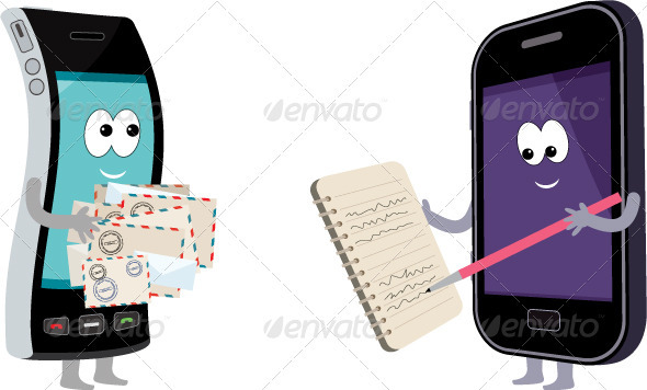 GraphicRiver Two smart phones with envelopes and a notebook 1628040