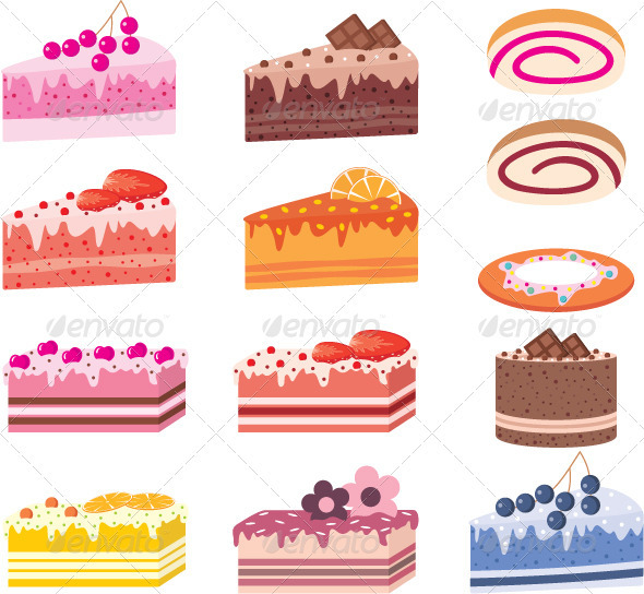 GraphicRiver Cakes pieces of pies sweets 1628059