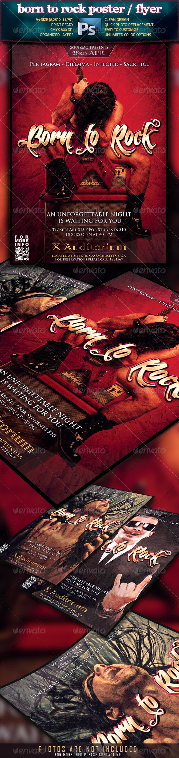 GraphicRiver Born To Rock A4 Poster Flyer 1614121