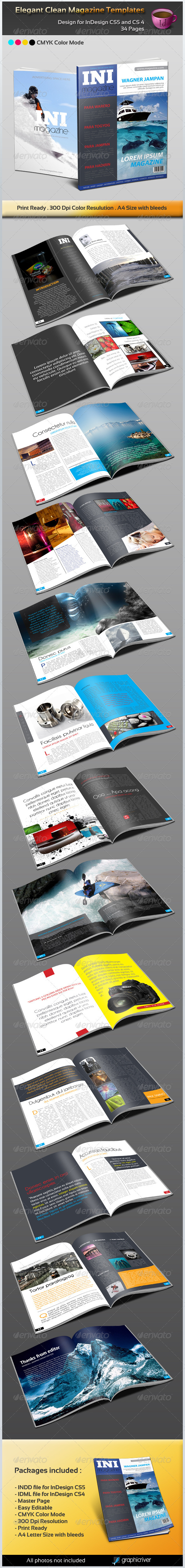 GraphicRiver Elegant Clean Magazine Template 1631219