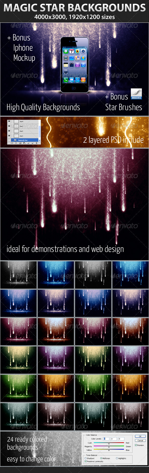 GraphicRiver Magic Star Backgrounds 1449204