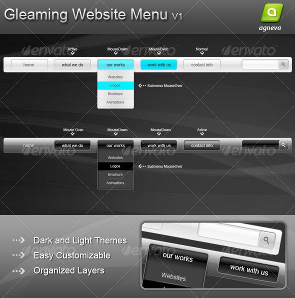 GraphicRiver Gleaming Website Menu V1 64019