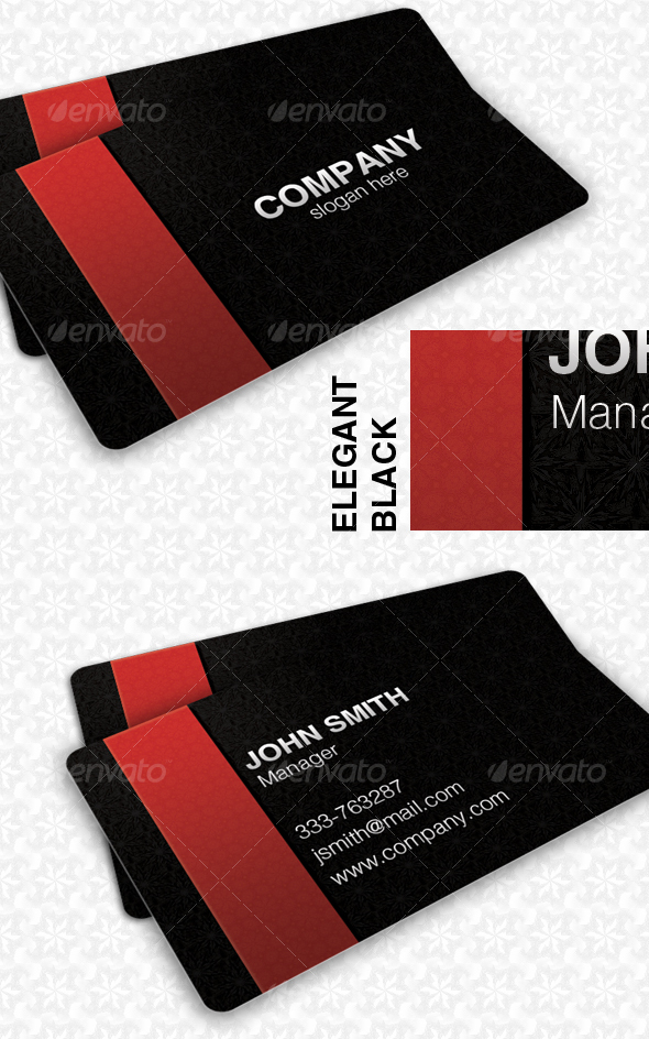 GraphicRiver Elegant Black Pattern Card 64126