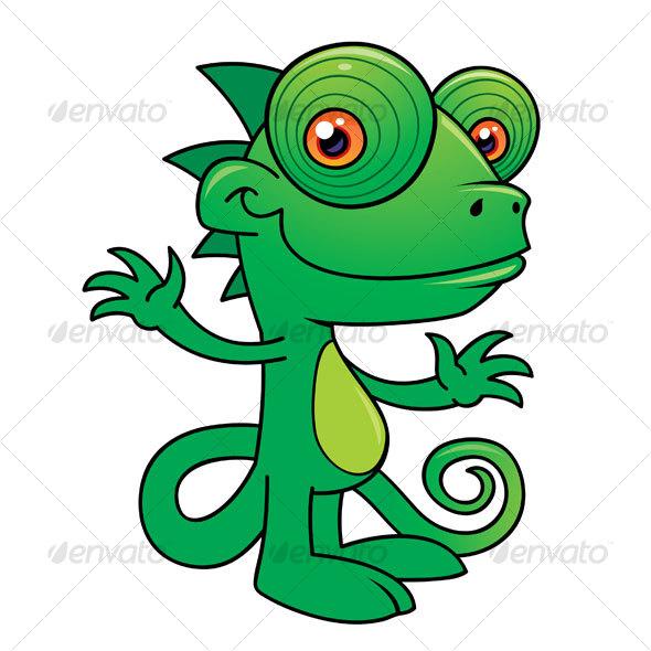 Graphic River Happy Chameleon Cartoon Vectors -  Characters  Animals 64129