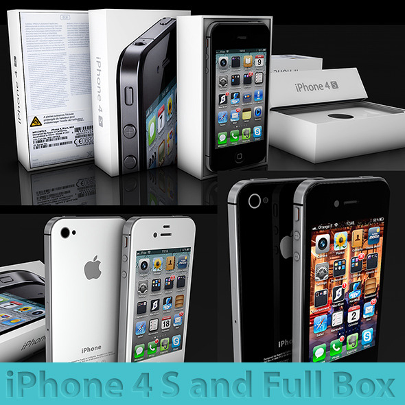 3DOcean iphone 4s and his Box black and white 3D Models -  Electronics  Phone 1649397