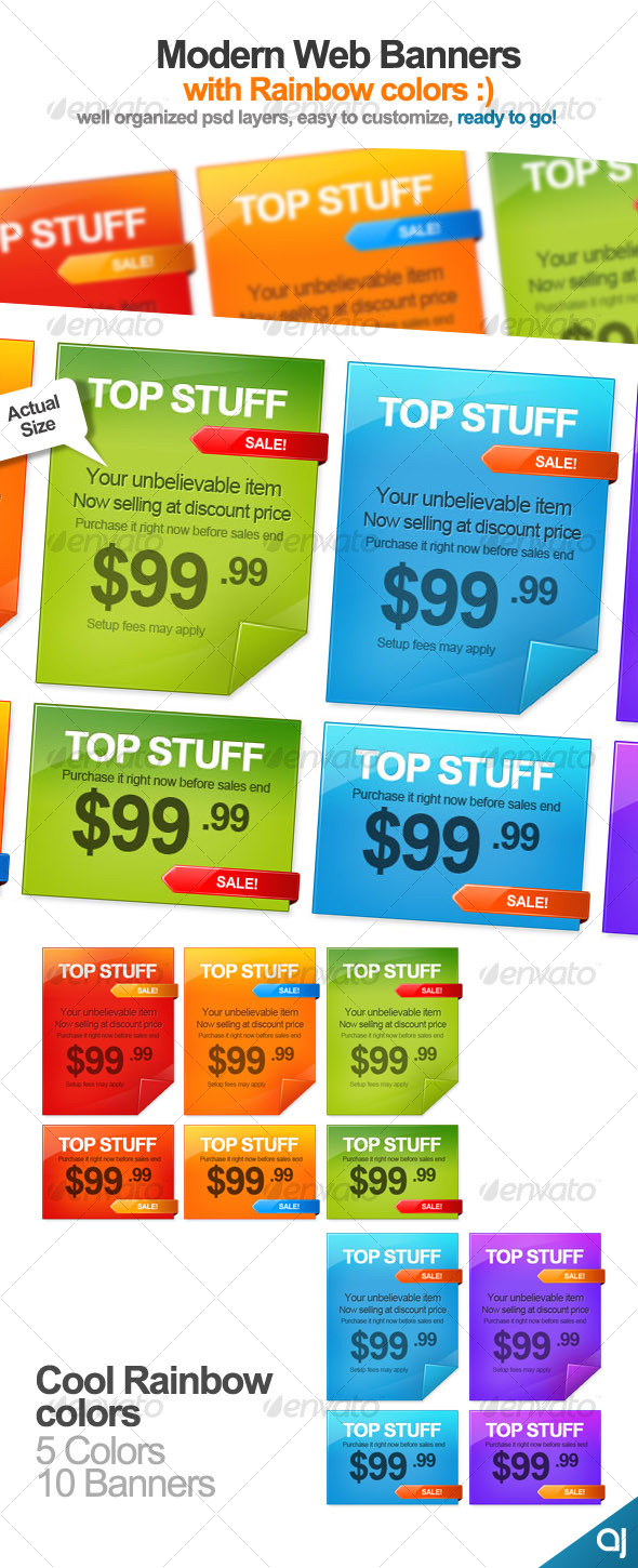 GraphicRiver Rainbow color 10 Web Banners 65265