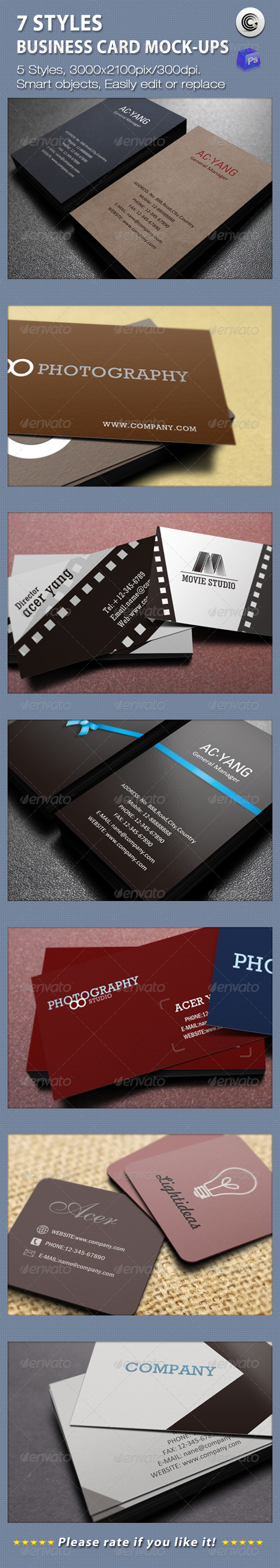 GraphicRiver 7 Styles Business Card Mock-ups 1673449