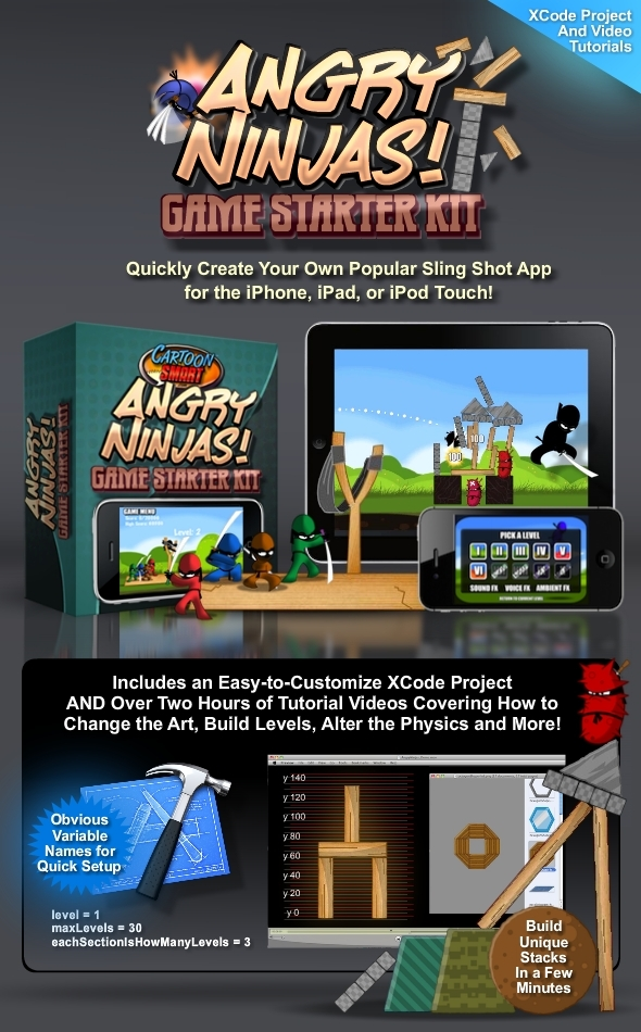 TutsPlus Angry Ninjas Sling Shot Game Starter Kit for iOS 1678447