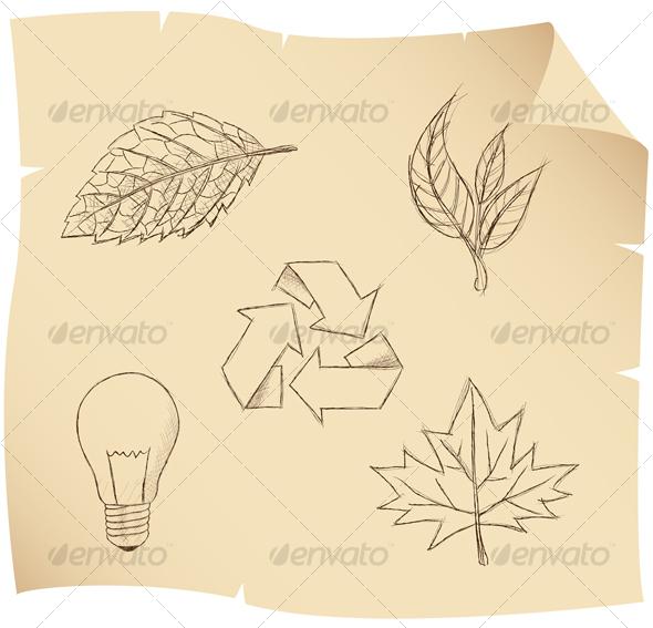 GraphicRiver sketch leaves 56870