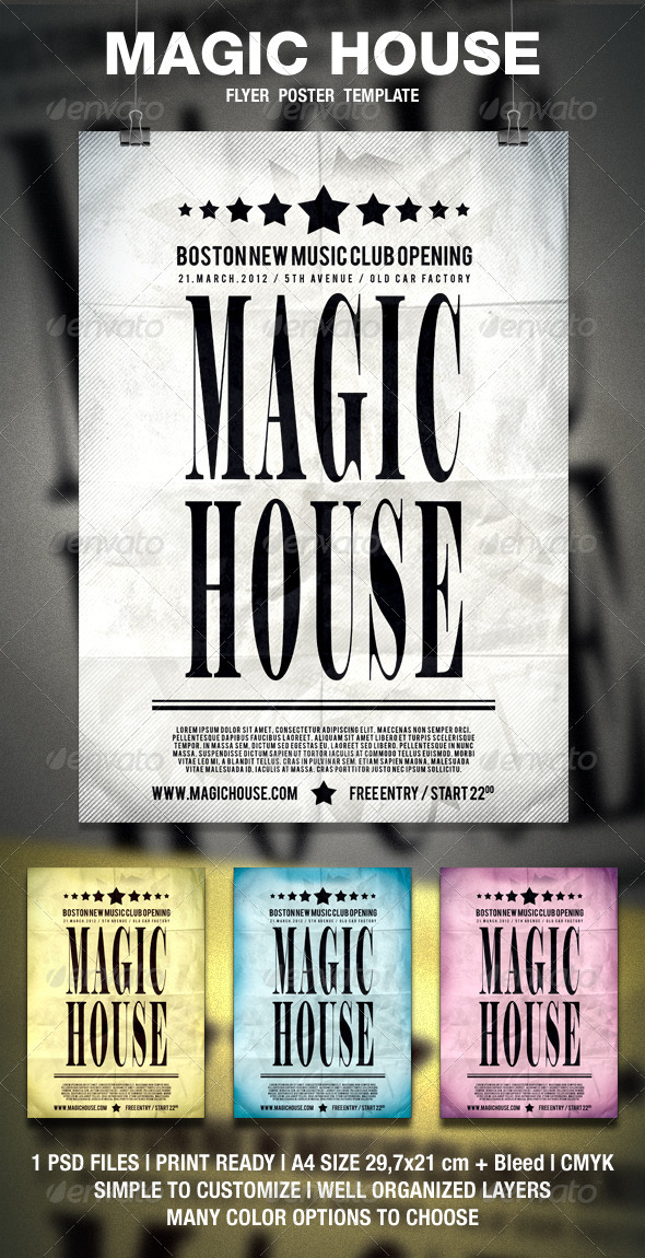 GraphicRiver Magic House Typography Flyer Poster 1681831