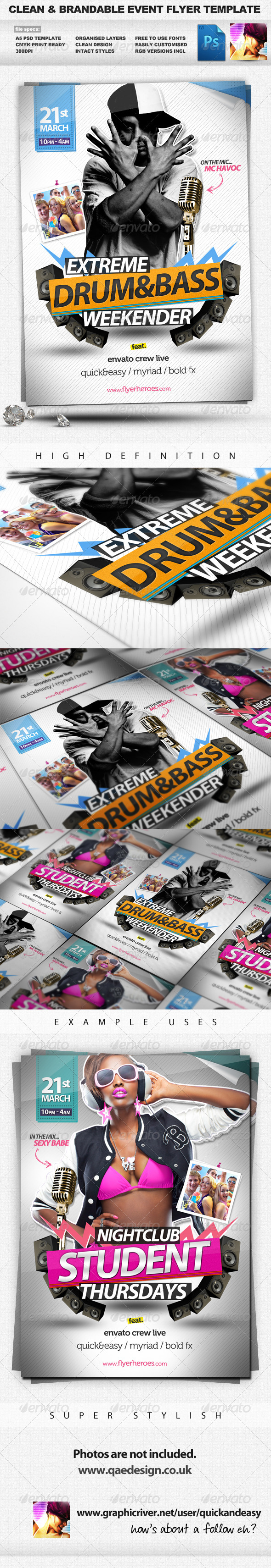 GraphicRiver Drum&Bass Clean Brandable A5 PSD Flyer Template 1684224
