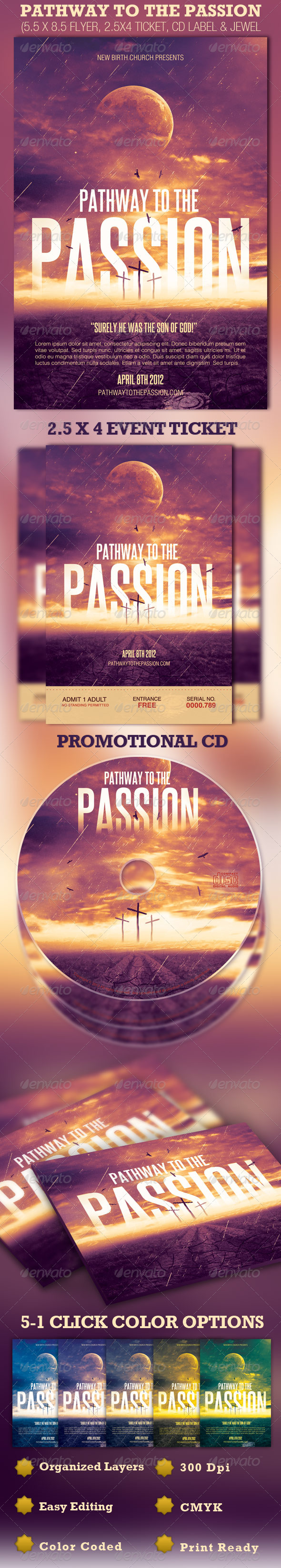 GraphicRiver Pathway to the Passion Flyer Ticket and CD 1684481