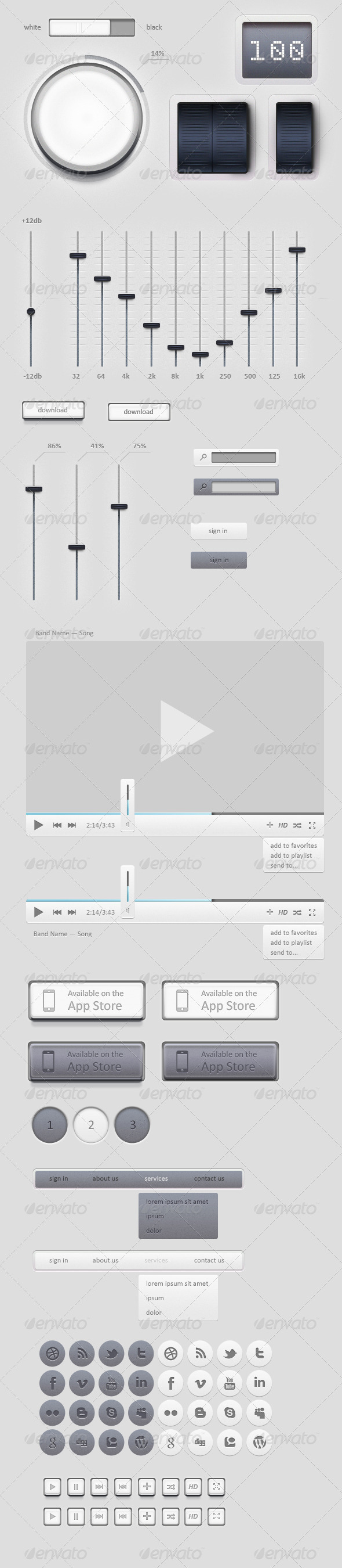 GraphicRiver Light GUI Graphical User Interface Set 1685762
