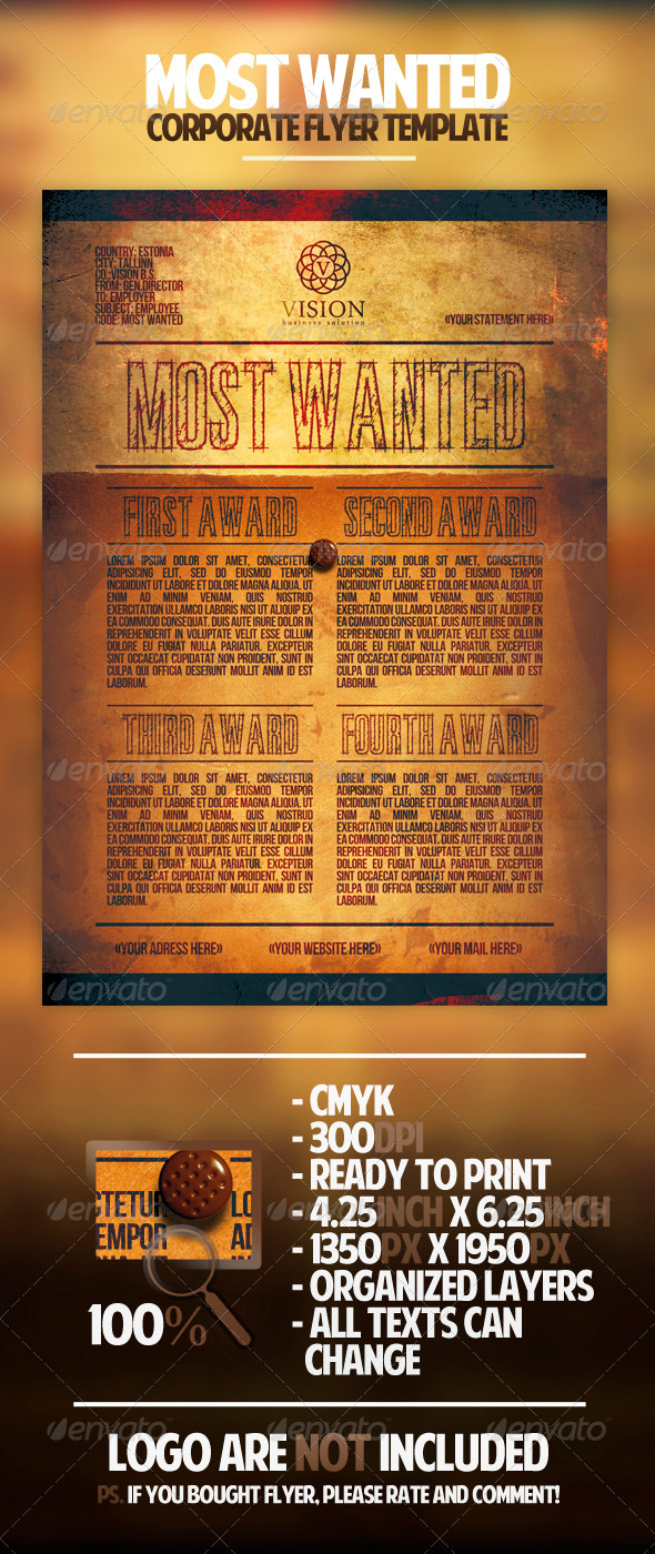 GraphicRiver Most Wanted Corporate Flyer Template 1685985